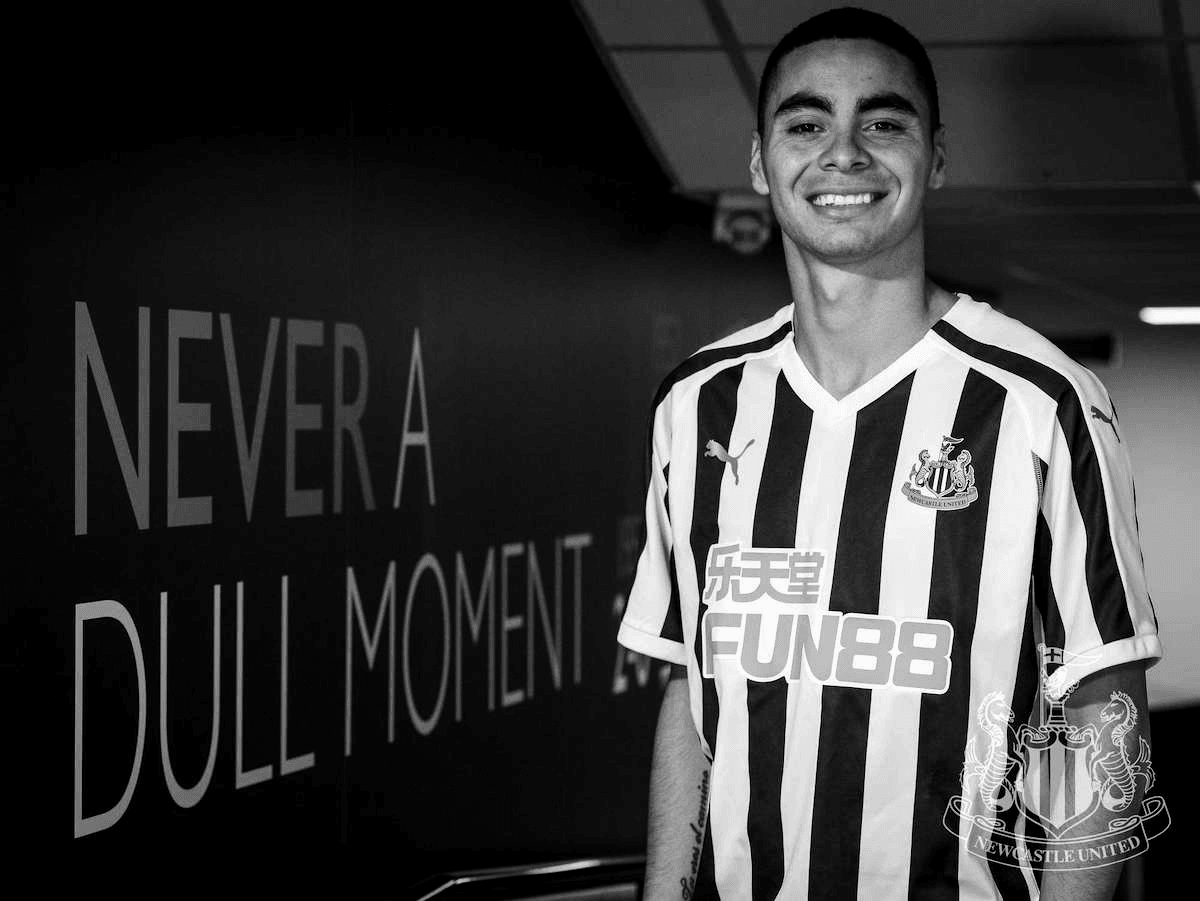 Miguel Almiron signs for Newcastle United for a club record fee.