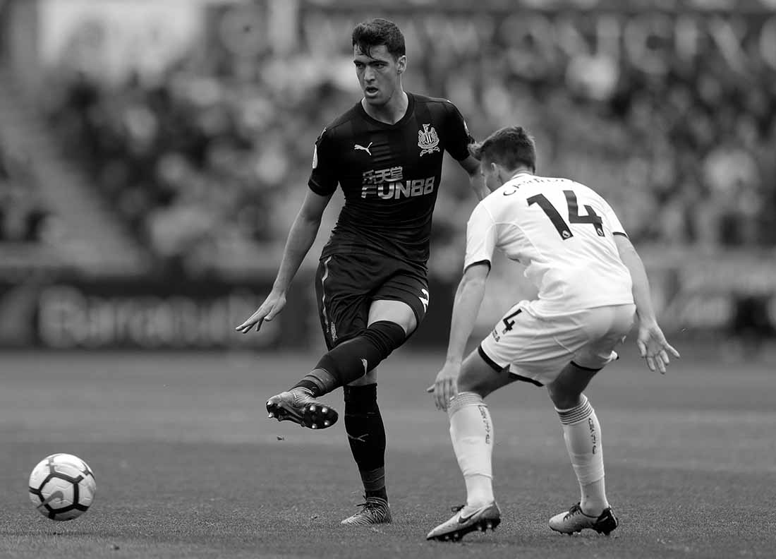 Mikel Merino sprays a pass across the Liberty Stadium surface in Newcastle' Premier League match-up with Swansea.