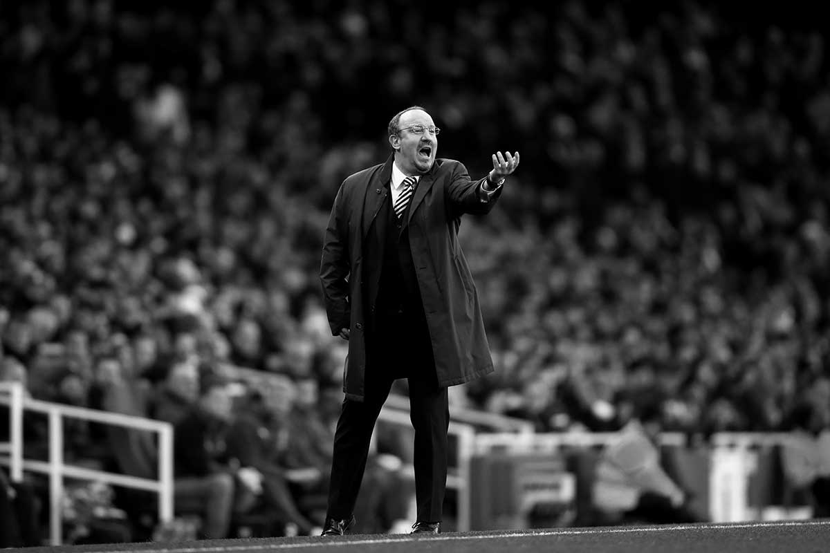 Rafa Benitez issues instructions to his players during their Premier League clash with Arsenal in the Emirates Stadium.