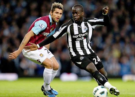 Cheick Tiote in action against West Ham, in a 1-2 Newcastle United win at Upton Park.