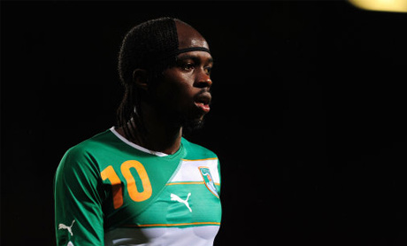 Gervinho looks on during an international match with The Netherlands