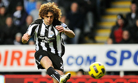 Fabricio Coloccini volleys Newcastle United into the lead at home to Tottenham