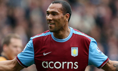 John Carew celebrates after scoring for Aston Villa