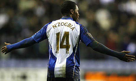 Charles N'Zogbia celebrates scoring for Wigan against Arsenal