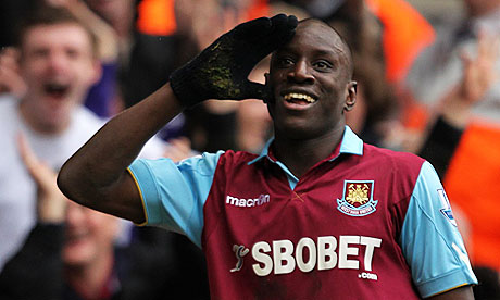 Demba Ba celebrates after scoring for West Ham in the Premier League