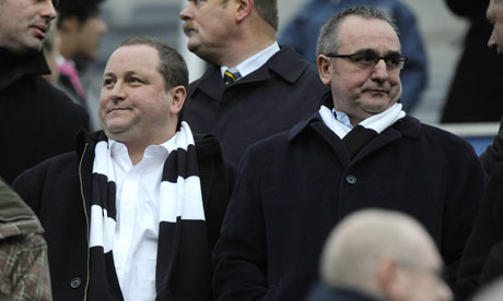 Derek Llambias and Mike Ashley watch Newcastle United in action