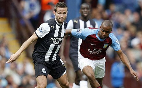 Yohan Cabaye in action for Newcastle United at Villa Park