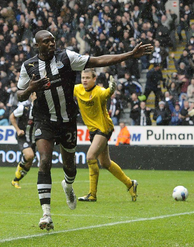 Shola Ameobi celebrates after scoring the all important NUFC equaliser