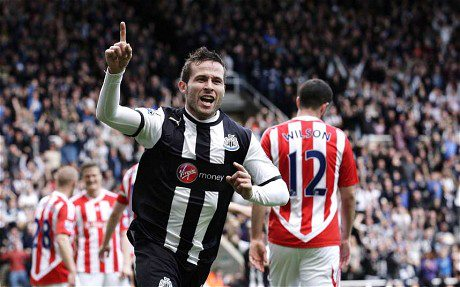 Yohan Cabaye celebrates opening the scoring against Stoke City