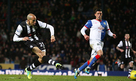 Gabriel Obertan in action for Newcastle United at Blackburn