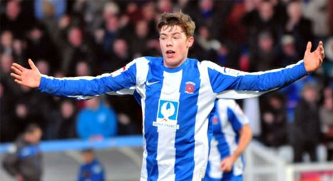 Luke James in action for Hartlepool United
