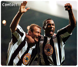 Alan Shearer and Les Ferdinand celebrate at St.James' Park