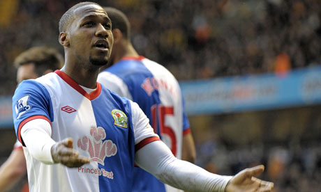 Junior Hoilett celebrates after scoring for Blackburn Rovers
