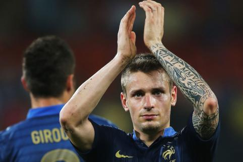 Mathieu Debuchy applauds French fans after their victory over Ukraine in Euro 2012.