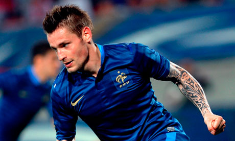 Mathieu Debuchy celebrates after scoring against Iceland in a friendly
