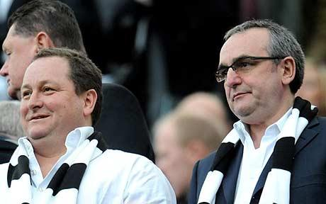 Mike Ashley and Derek Llambias watch Newcastle United at St.James' Park