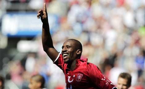 FC Twente's Douglas celebrates after scoring from the Dutch side