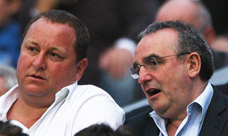 Newcastle owner Mike Ashley alongside MD Derek Llambias attend a game