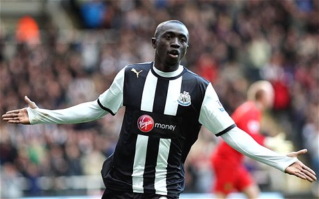 Papiss Cissé celebrates after scoring for Newcastle United against Norwich