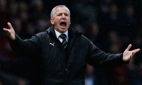 Alan Pardew on the touchline at Old Trafford
