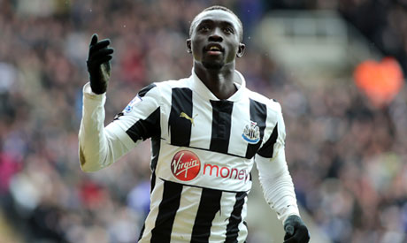 Papiss Cissé celebrates after scoring the winner against Stoke City