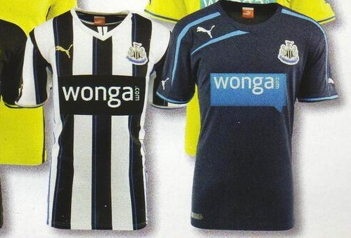 Newcastle United's Home Jersey and Away strip