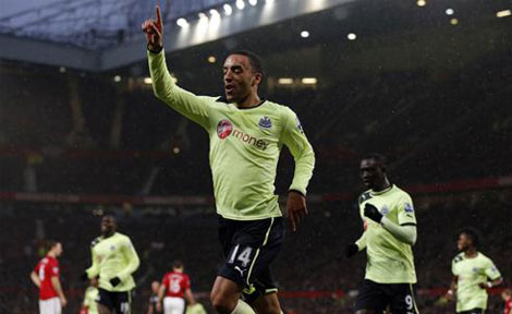 James Perch celebrates after scoring for Newcastle United at Old Trafford