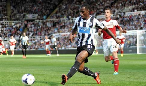 Vurnon Anita in action for Newcastle United against Fulham in the Premier League