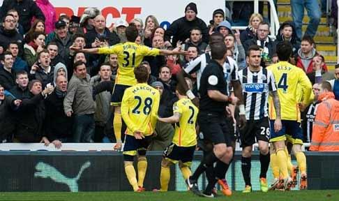 Fabio Borini celebrates scoring against Newcastle United