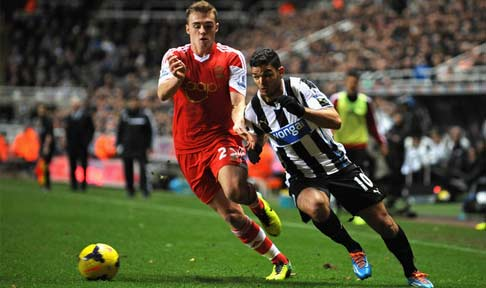 Hatem Ben Arfa in action for Newcastle against Southampton