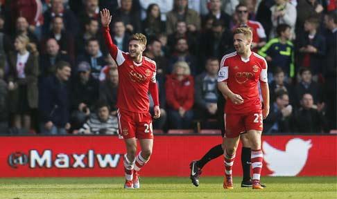 Jay Rodriguez celebrates opening the scoring for Southampton against Newcastle United