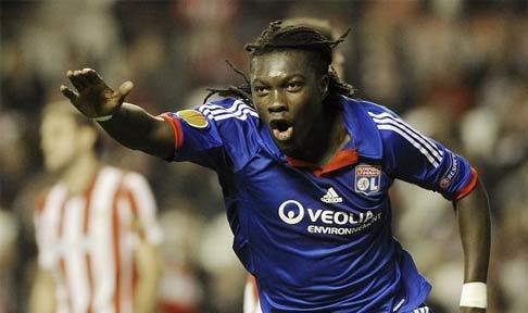 Bafetimbi Gomis celebrates scoring for Lyon