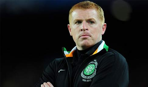 Neil Lennon looks on from the sidelines at Celtic Park