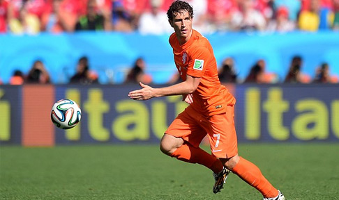 Daryl Janmaat in action for the Netherlands at the 2014 World Cup