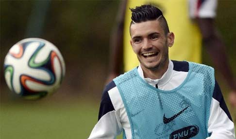Rémy Cabella in training with France at the 2014 World Cup