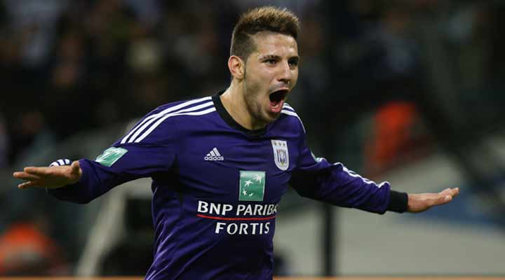 Aleksandar Mitrovic celebrates scoring for Anderlecht