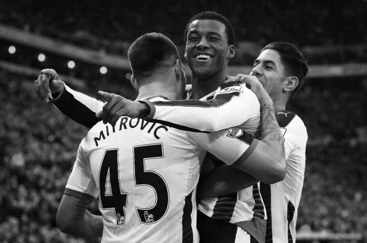 Georginio Wijnaldum celebrates scoring for Newcastle United.