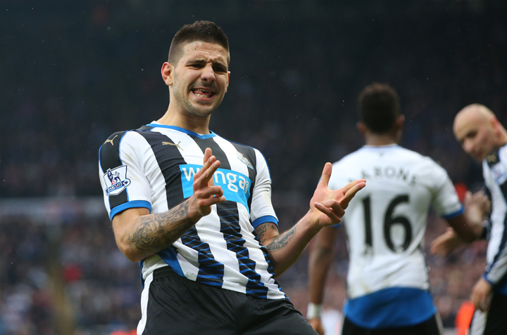 Aleksandar Mitrovic celebrates a goal